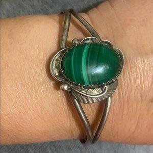 S s malachite stone vintage Navajo bracelet